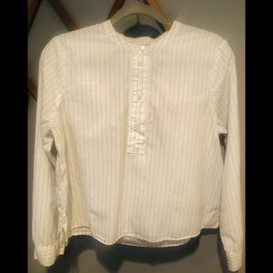 Madewell button up crop pinstriped l/s Oxford top